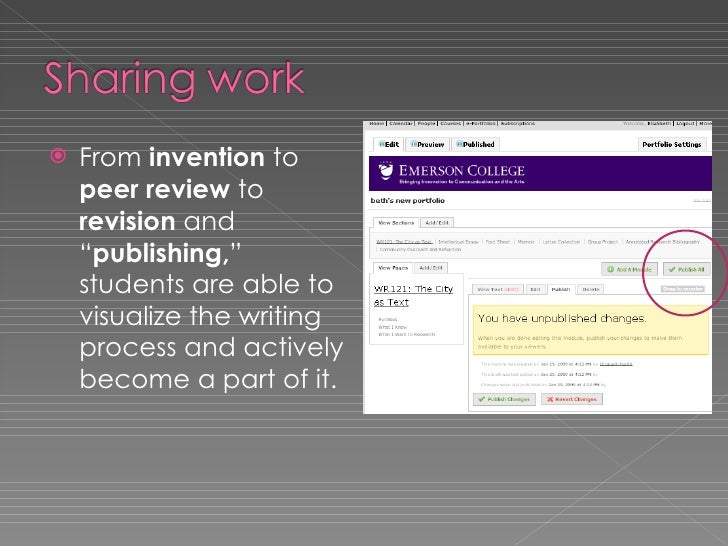 """<ul><li>From  invention  to  peer review  to  revision  and """" publishing, """" students are able to visualize the writing pro..."""