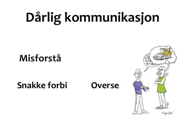 Dårlig kommunikasjonMisforståSnakke forbi   Overse