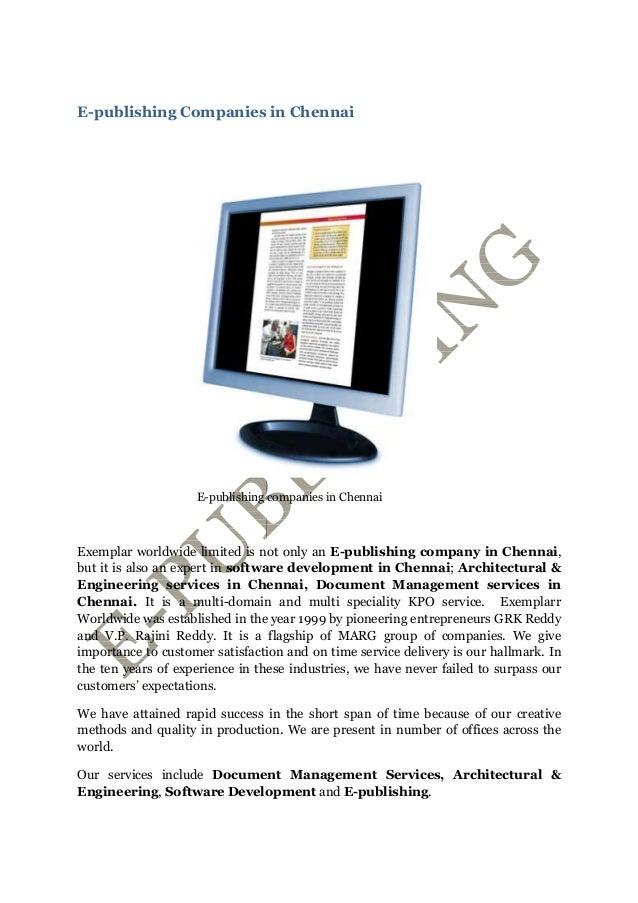 E-publishing Companies in Chennai E-publishing companies in Chennai Exemplar worldwide limited is not only an E-publishing...