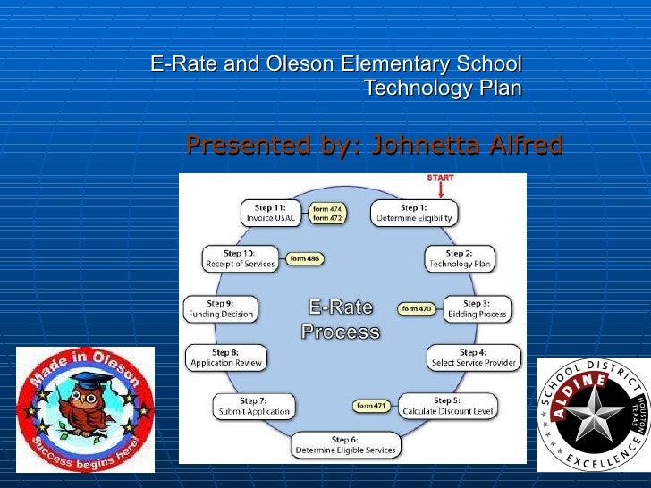 E-Rate and Oleson Elementary School Technology Plan Presented by: Johnetta Alfred
