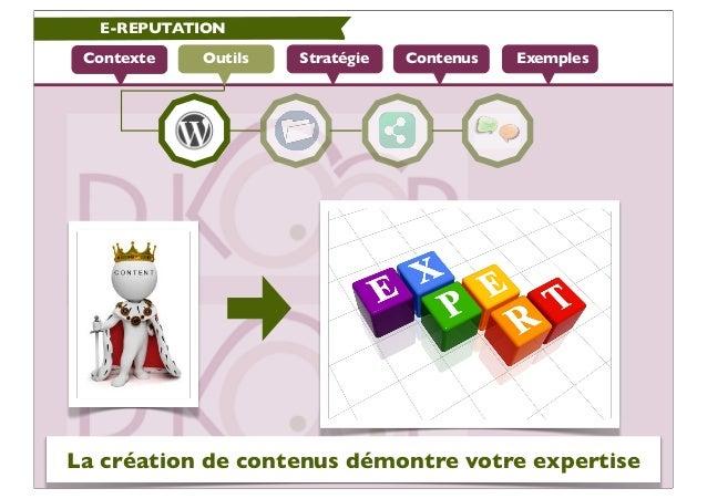 E-REPUTATION Contexte   Outils   Stratégie   Contenus   ExemplesLa création de contenus démontre votre expertise