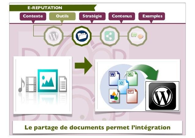 E-REPUTATIONContexte   Outils   Stratégie   Contenus   ExemplesLe partage de documents permet l'intégration