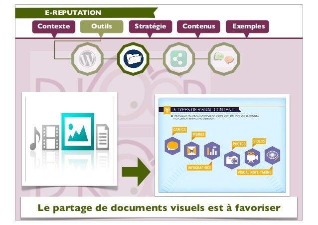 E-REPUTATIONContexte   Outils   Stratégie   Contenus   ExemplesLe partage de documents visuels est à favoriser