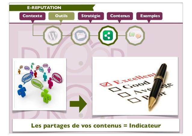 E-REPUTATIONContexte   Outils   Stratégie   Contenus   Exemples   Les partages de vos contenus = Indicateur