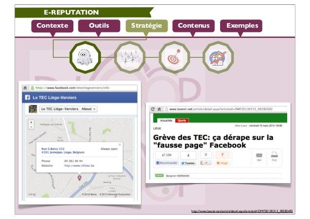 E-REPUTATIONContexte   Outils   Stratégie   Contenus                    Exemples                                   http://...