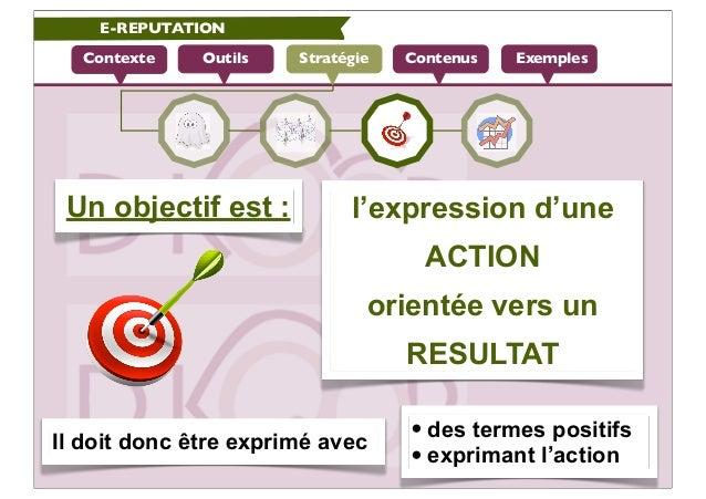 E-REPUTATION  Contexte    Outils   Stratégie   Contenus   Exemples Un objectif est :           l'expression d'une         ...