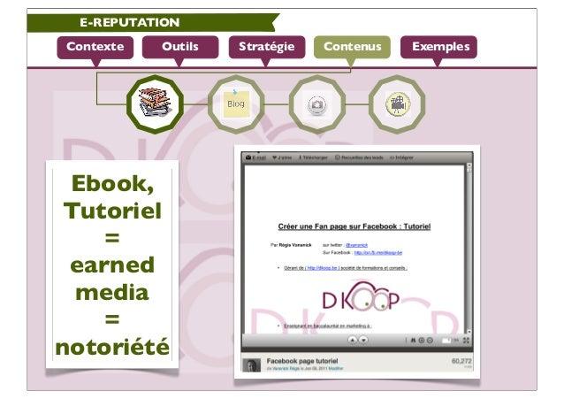 E-REPUTATIONContexte   Outils   Stratégie   Contenus   Exemples Ebook, Tutoriel    = earned  media    =notoriété
