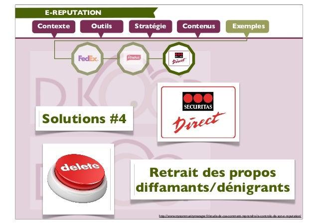E-REPUTATIONContexte   Outils   Stratégie             Contenus                          Exemples Solutions #4             ...