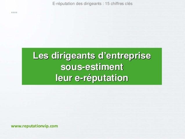 E-réputation des dirigeants : 15 chiffres clés  Les dirigeants d'entreprise  sous-estiment  leur e-réputation  www.reputat...