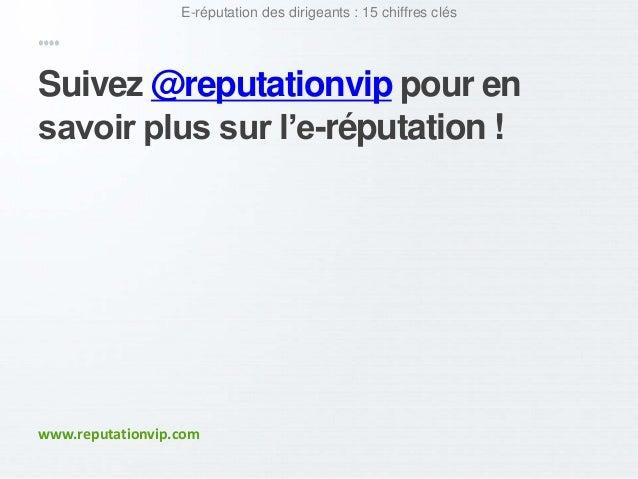 E-réputation des dirigeants : 15 chiffres clés  Suivez @reputationvip pour en  savoir plus sur l'e-réputation !  www.reput...