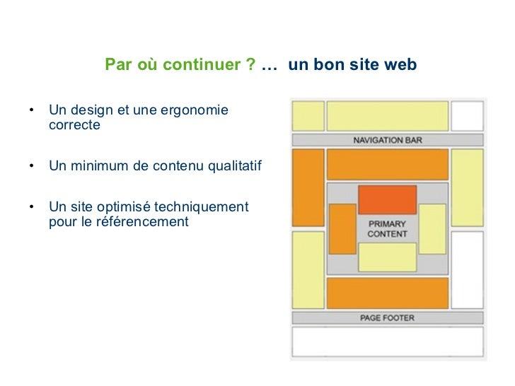 Par où continuer ?  …  un bon site web <ul><li>Un design et une ergonomie correcte </li></ul><ul><li>Un minimum de contenu...