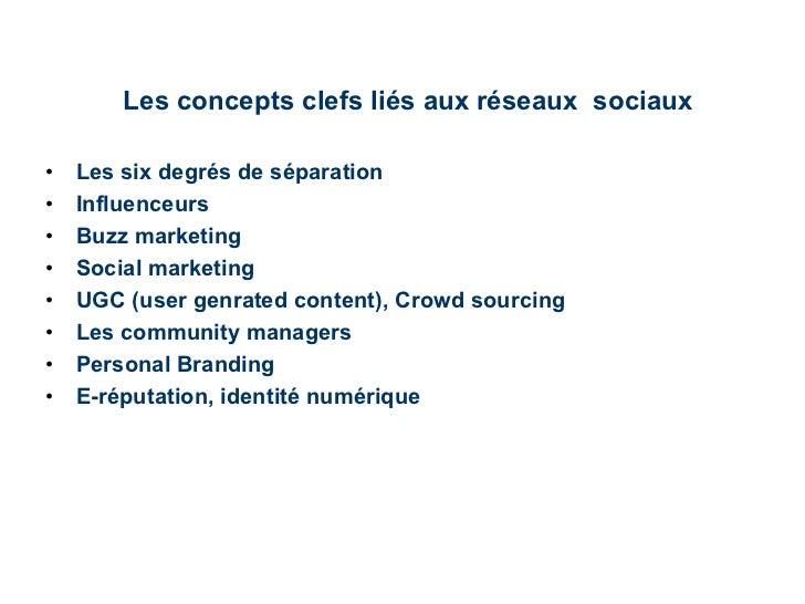 Les concepts clefs liés aux réseaux  sociaux <ul><li>Les six degrés de séparation </li></ul><ul><li>Influenceurs </li></ul...