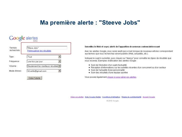 "Ma première alerte : ""Steeve Jobs"""