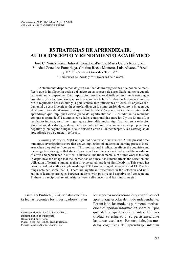 Psicothema, 1998. Vol. 10, nº 1, pp. 97-109 ISSN 0214 - 9915 CODEN PSOTEG                 ESTRATEGIAS DE APRENDIZAJE,     ...