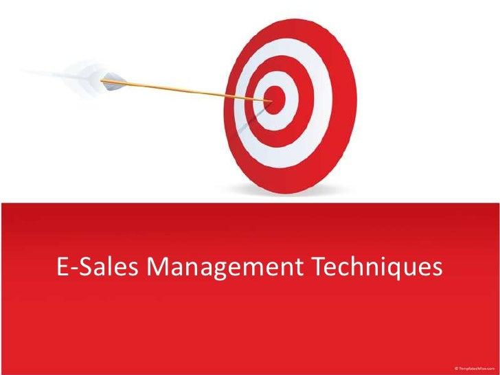 E-Sales Management Techniques<br />