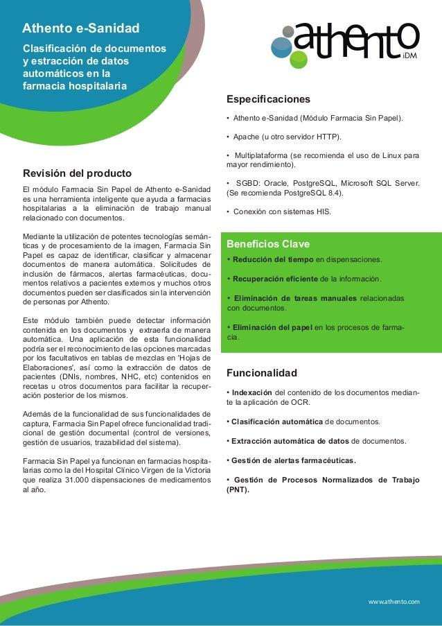www.athento.comAthento e-SanidadClasificación de documentosy estracción de datosautomáticos en lafarmacia hospitalariaRevi...