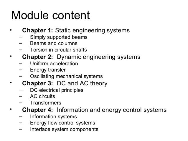 Module content•       Chapter 1: Static engineering systems    –     Simply supported beams    –     Beams and columns    ...