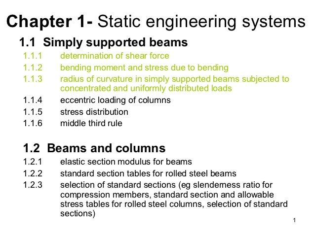 Chapter 1- Static engineering systems 1.1 Simply supported beams  1.1.1   determination of shear force  1.1.2   bending mo...