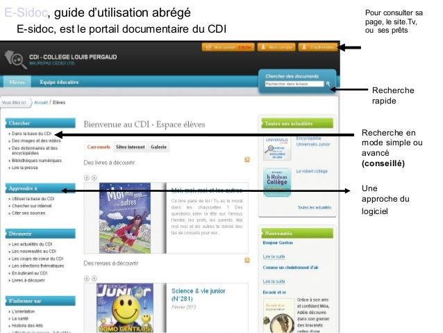 E-Sidoc, guide d'utilisation abrégé Recherche rapide Recherche en mode simple ou avancé (conseillé) Pour consulter sa page...