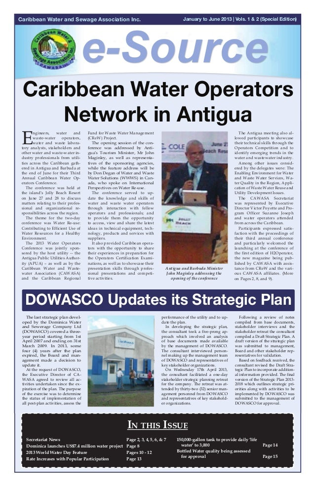 Caribbean Water and Sewage Association Inc.  January to June 2013 | Vols. 1 & 2 (Special Edition) July to September 2012 |...