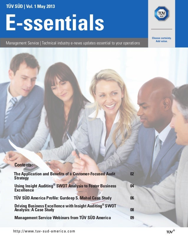 TÜV SÜD | Vol. 1 May 2013E-ssentialsManagement Service | Technical industry e-news updates essential to your operationshtt...
