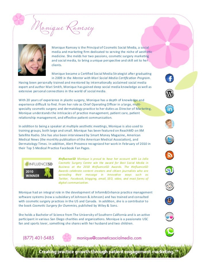 Monique Ramsey                      Monique Ramsey is the Principal of Cosme c Social Media, a social                     ...