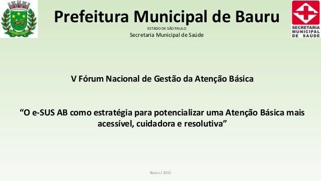 Bauru / 2015 Prefeitura Municipal de BauruESTADO DE SÃO PAULO Secretaria Municipal de Saúde V Fórum Nacional de Gestão da ...