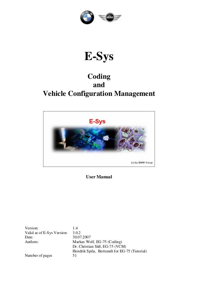 BMW ENET Cable E-sys F-series Coding user manual