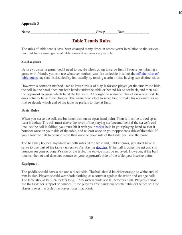 E table tennis rules for 10 table tennis rules
