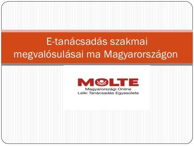 E-tanácsadás szakmai megvalósulásai ma Magyarországon