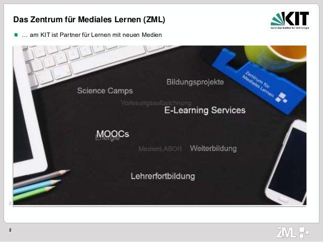 2 2 Das Zentrum für Mediales Lernen (ZML) … am KIT ist Partner für Lernen mit neuen Medien