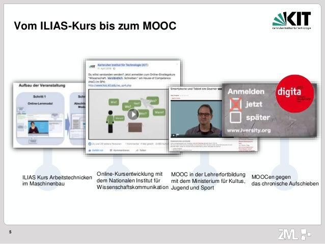 5 Vom ILIAS-Kurs bis zum MOOC ILIAS Kurs Arbeitstechnicken im Maschinenbau Online-Kursentwicklung mit dem Nationalen Insti...