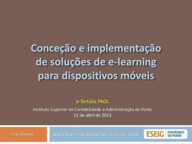 e-Tertúlia PAOL                Instituto Superior de Contabilidade e Administração do Porto                               ...