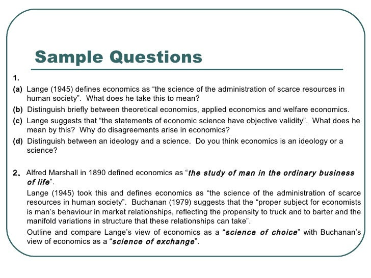 The Scope And Method Of Economics