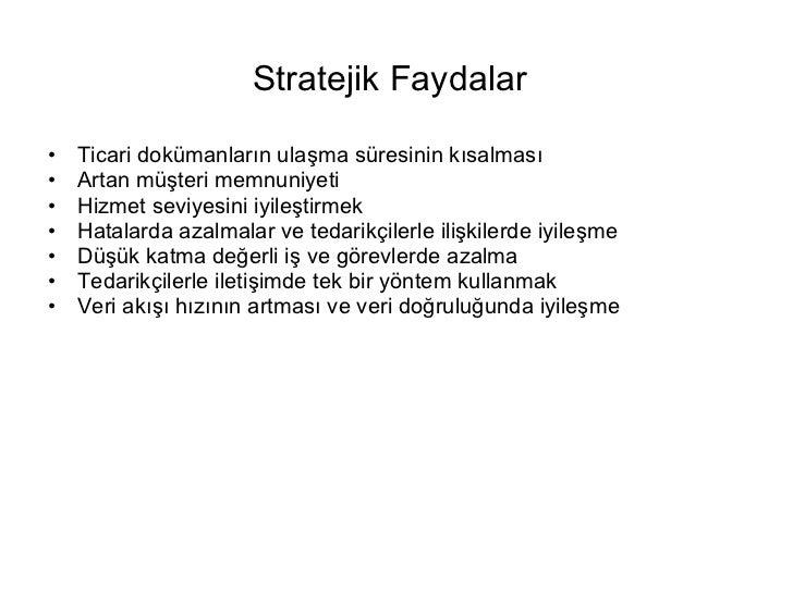 Stratejik Faydalar   <ul><li>Ticari dokümanların ulaşma süresinin kısalması </li></ul><ul><li>Artan müşteri memnuniyeti </...