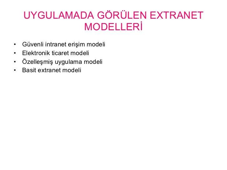 UYGULAMADA GÖRÜLEN EXTRANET MODELLERİ <ul><li>Güvenli intranet erişim modeli </li></ul><ul><li>Elektronik ticaret modeli <...