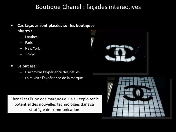 Boutique Chanel : façades interactives <ul><li>Ces façades sont placées sur les boutiques phares :  </li></ul><ul><ul><li>...