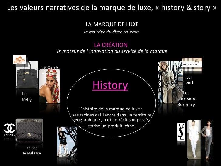 Les valeurs narratives de la marque de luxe, «history & story» <ul><li>History   </li></ul><ul><li>L'histoire de la marq...