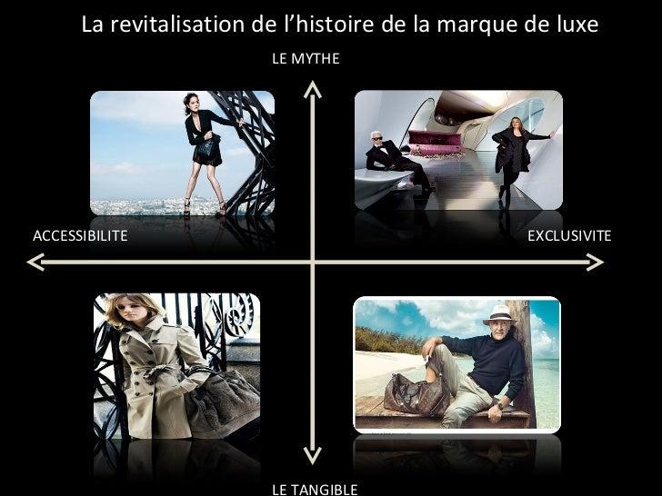 LE MYTHE EXCLUSIVITE LE TANGIBLE ACCESSIBILITE La revitalisation de l'histoire de la marque de luxe