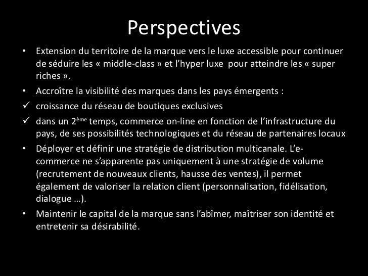 Perspectives - 1/2 <ul><li>L'enjeu du luxe sur Internet c'est de valoriser le capital de la marque sans l'abîmer, maîtrise...