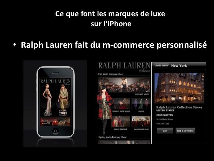 Des chiffres du luxe sur mobile <ul><li>seulement 5 marques de luxe possèdent un site m-commerce  (vente en ligne sur télé...
