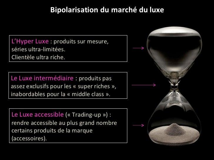 Bipolarisation du marché du luxe L'Hyper Luxe  : produits sur mesure, séries ultra-limitées. Clientèle ultra riche. Le Lux...