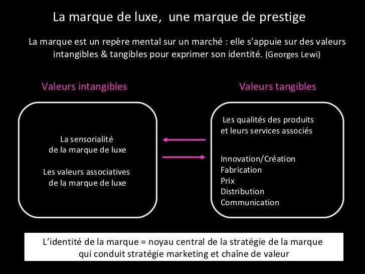 La marque de luxe,  une marque de prestige <ul><li>La marque est un repère mental sur un marché : elle s'appuie sur des va...