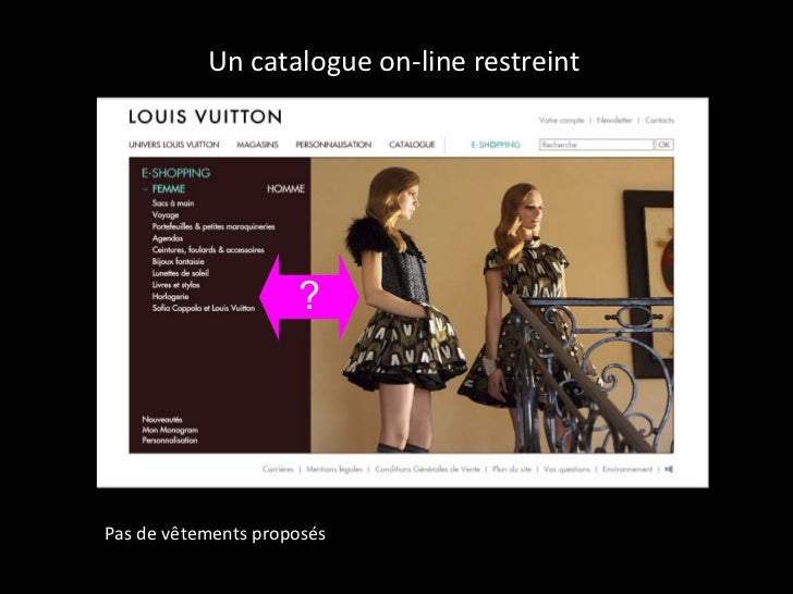 Un catalogue on-line restreint  ? Pas de vêtements proposés