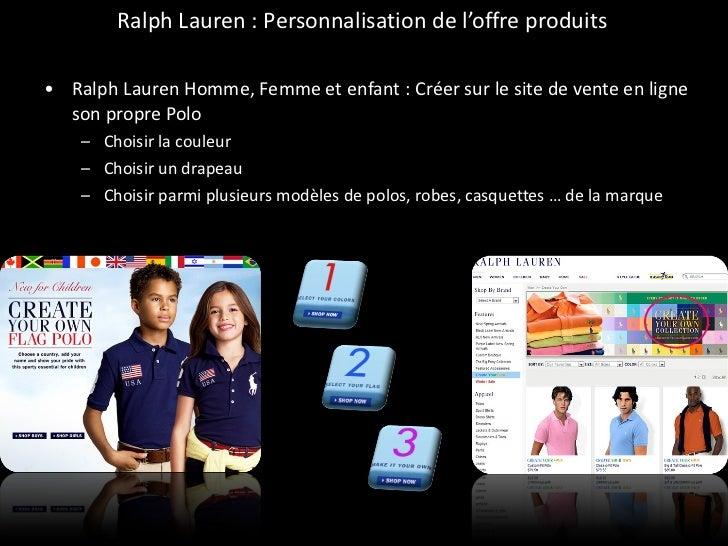 Ralph Lauren : Personnalisation de l'offre produits  <ul><li>Ralph Lauren Homme, Femme et enfant : Créer sur le site de ve...