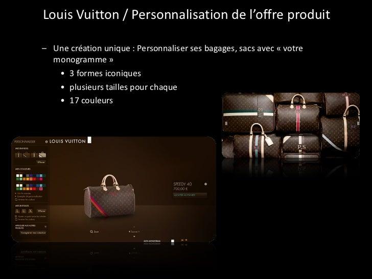Louis Vuitton / Personnalisation de l'offre produit <ul><ul><li>Une création unique : Personnaliser ses bagages, sacs avec...