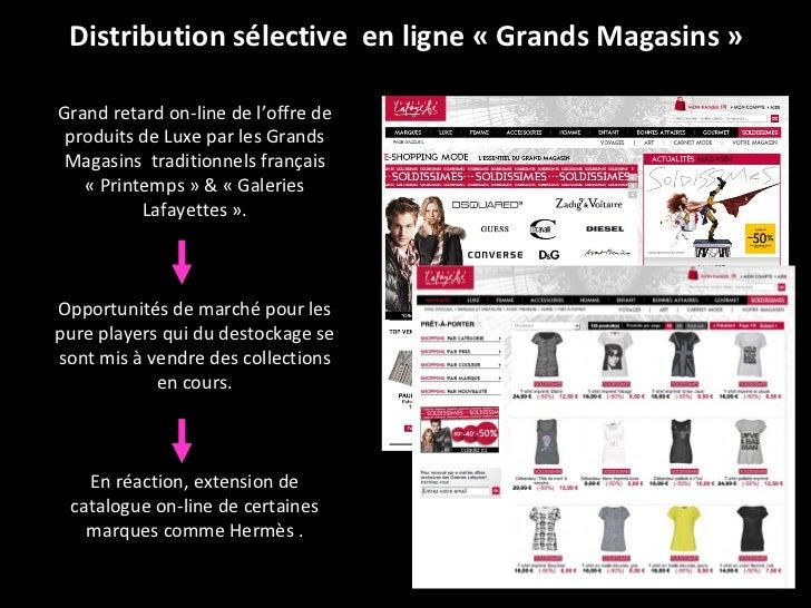Distribution sélective  en ligne «Grands Magasins» Grand retard on-line de l'offre de produits de Luxe par les Grands Ma...
