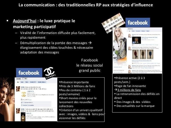 <ul><li>Aujourd'hui  : le luxe pratique le marketing participatif   </li></ul><ul><ul><li>Viralité de l'information diffus...