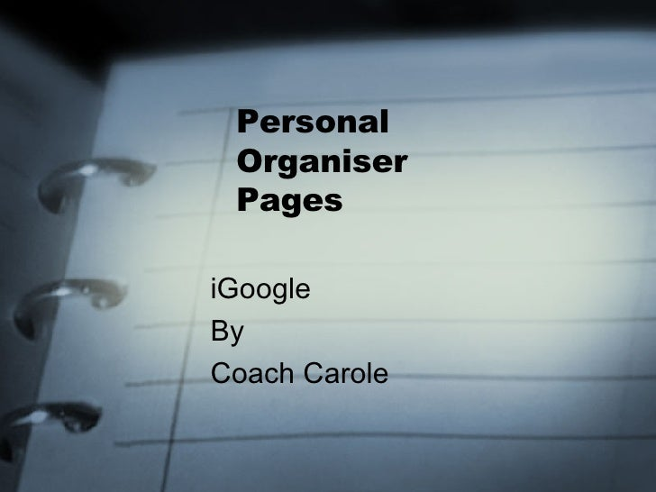 Personal  Organiser  Pages iGoogle By Coach Carole