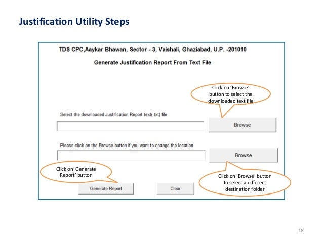 justification report utility 2.1 traces